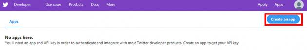 Twitterデベロッパーサイトで「Create an app」をクリック