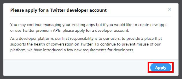Twitterデベロッパーサイト「Apply」をクリック