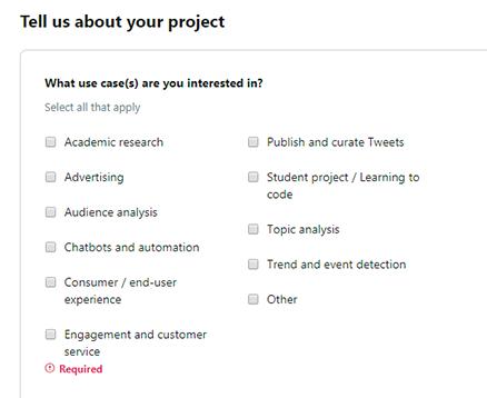 サイトでTwitter APIをどのような目的で利用するかを選択