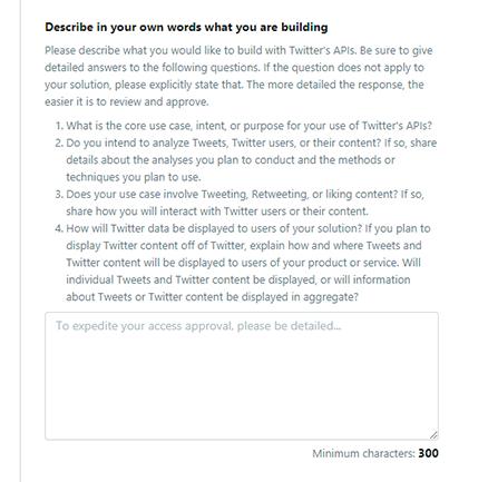 自分のサービスやTwitter APIの利用目的を英語で入力!この説明が主な審査対象