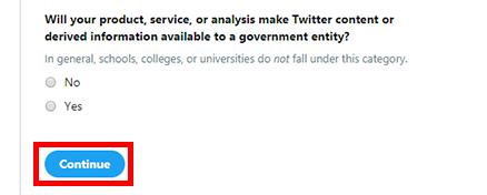 Twitterコンテンツまたは派生情報が政府機関に利用可能になりますか?という質問です。
